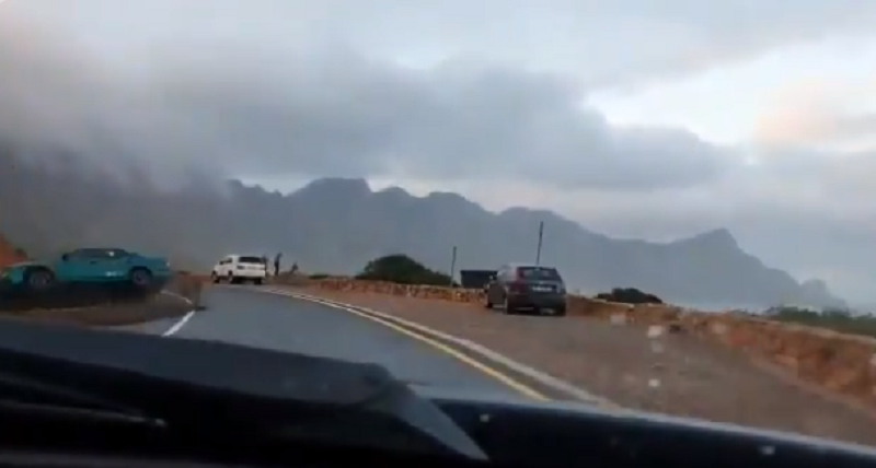 Dash-cam captures reckless driver ploughing-into mountain side
