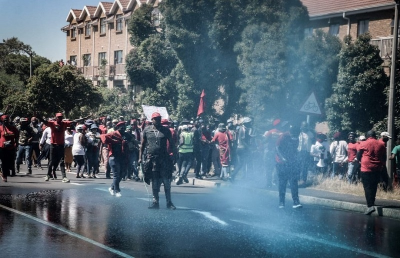 Brackenfell: Police fire stun grenades and use water cannon to disperse EFF protesters
