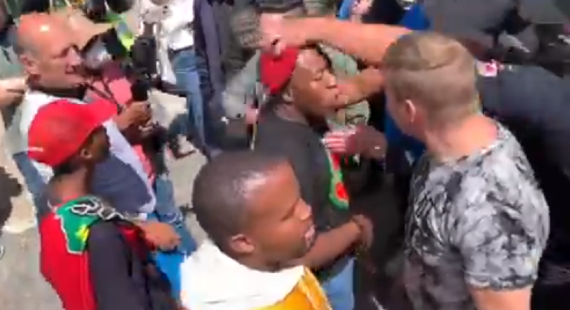 WATCH: Disgruntled community members take on EFF protesters outside Cape School
