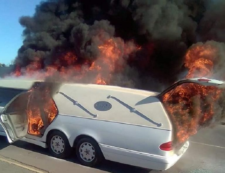 Hearse catches fire on way to Paarl funeral