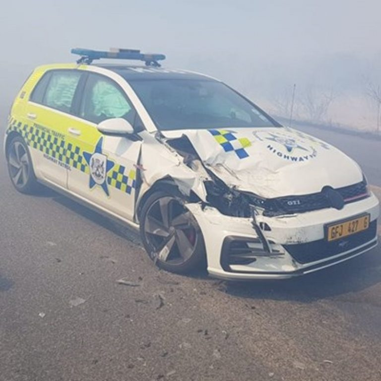 Provincial Traffic vehicle involved in accident with private vehicle due to poor visibility as a result of veld fires in Mossel Bay